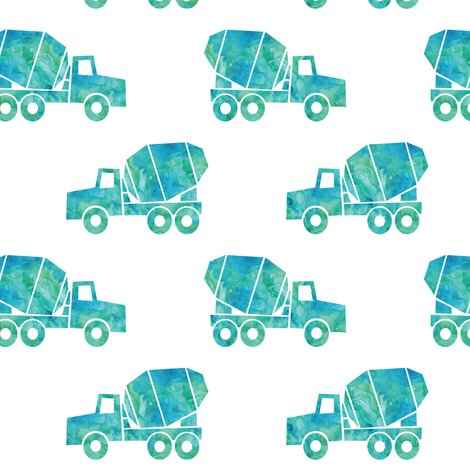 mixer trucks - watercolor teal fabric by littlearrowdesign on Spoonflower - custom fabric