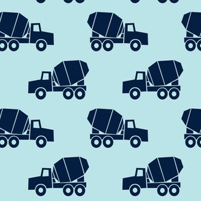 mixer trucks - navy on baby blue