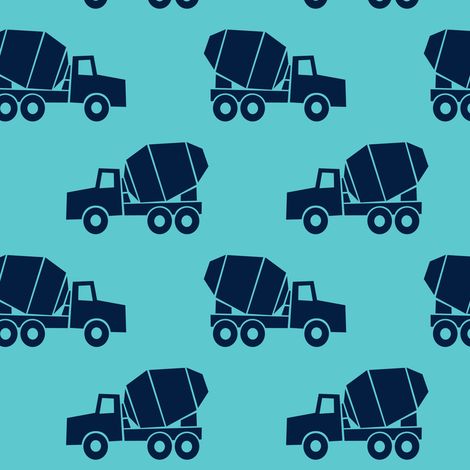 Mixer trucks dark blue on teal fabric for Little blue truck fabric