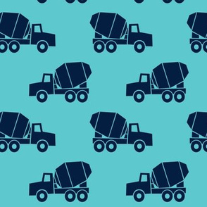 mixer trucks - dark blue on teal
