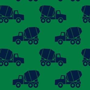 mixer trucks - blue on green