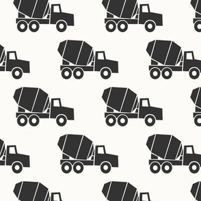 mixer trucks - grey on cream