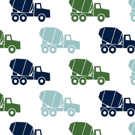 mixer trucks - multi - navy,blue,green fabric by littlearrowdesign on Spoonflower - custom fabric