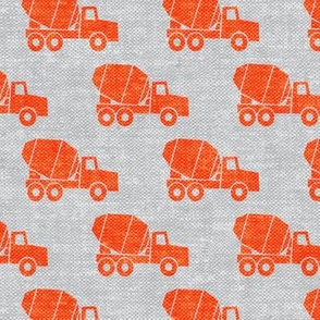 mixer trucks - orange on grey W