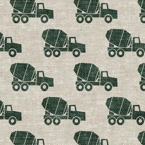 mixer trucks - green on beige W