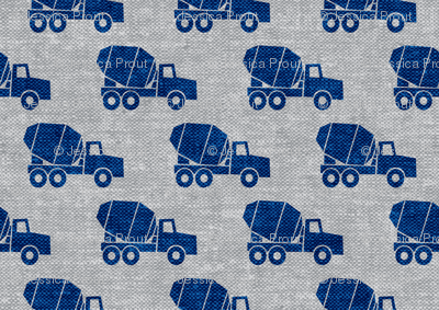 mixer trucks - blue on grey W