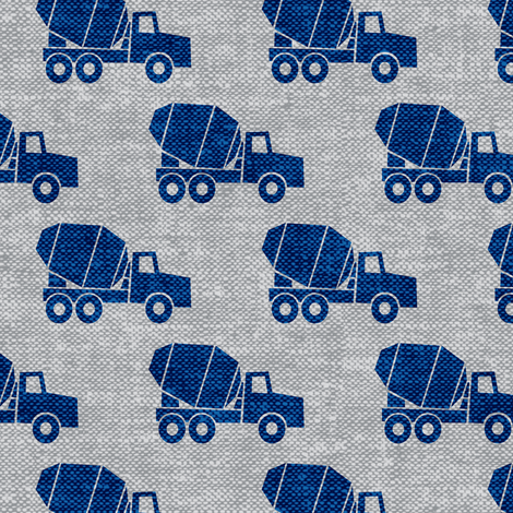 mixer trucks - blue on grey W fabric by littlearrowdesign on Spoonflower - custom fabric
