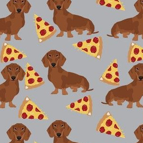 dachshund red coat pizza dog breed wiener dogs fabric grey