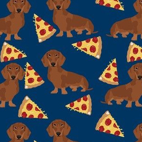 dachshund red coat pizza dog breed wiener dogs fabric navy