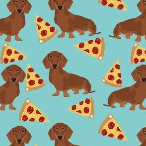dachshund red coat pizza dog breed wiener dogs fabric teal