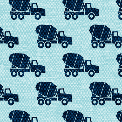 Mixer trucks blue on blue w fabric littlearrowdesign for Little blue truck fabric
