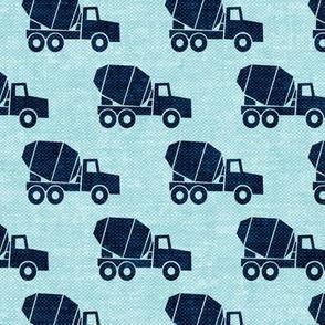 mixer trucks - blue on blue W