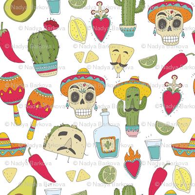 Mexican food cartoon. taco pattern