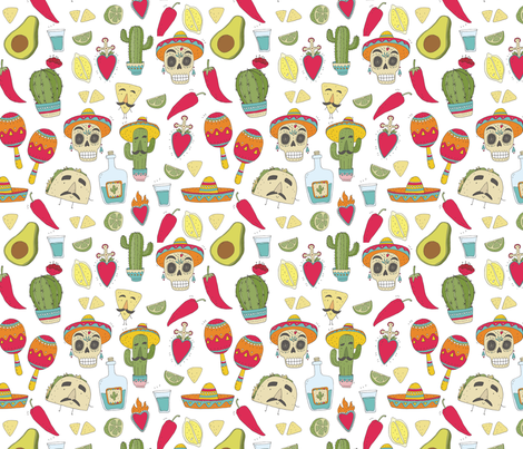 Mexican food cartoon. taco pattern fabric by slava on Spoonflower - custom fabric