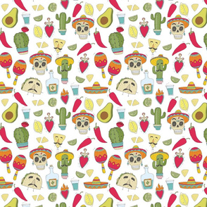 Mexican food cartoon. taco pattern