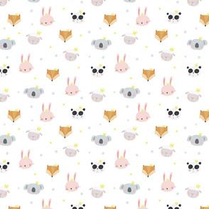 Cute animals bunny, sheep, panda, fox, koala