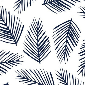 Tropical Shade - Indigo on White