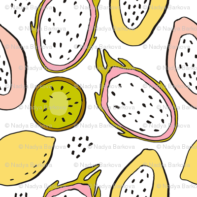 Tropical fruit kiwi dragon fruit papaya lemon