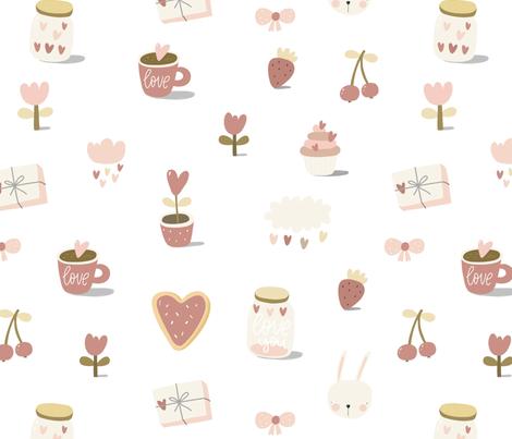 Romantic Love Pattern Heart Tenderness Summer fabric by slava on Spoonflower - custom fabric