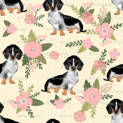 dachshund floral pale yellow dog breed fabric