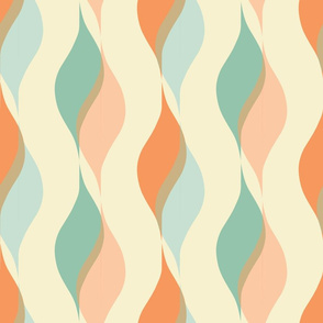 Moroccan Wavy Shapes, Soft Desert Colors, Floating Ribbons