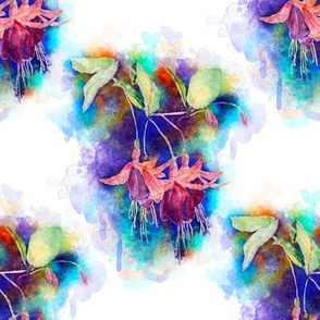 WATERCOLOR FUCHSIA FLOWERS 1 ON WHITE by PAYSMAGE