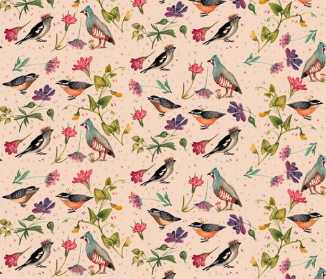 birds and wildflowers fabric by gomboc on Spoonflower - custom fabric