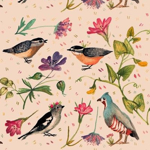 birds and wildflowers