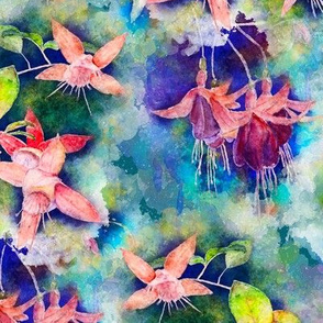 FUCHSIA FLOWERS GARDEN WATERCOLOR ALTERNATE EMERALD GREEN