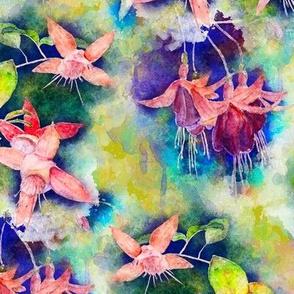 FUCHSIA FLOWERS GARDEN WATERCOLOR ALTERNATE LIME SPRING GREEN