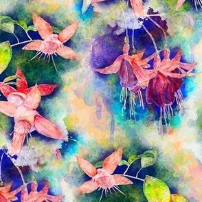 FUCHSIA FLOWERS GARDEN WATERCOLOR ALTERNATE PALE CORAL ORANGE
