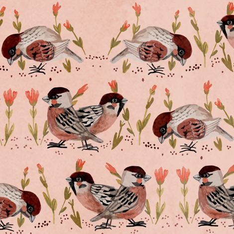 sparrow fabric fabric by potyautas on Spoonflower - custom fabric