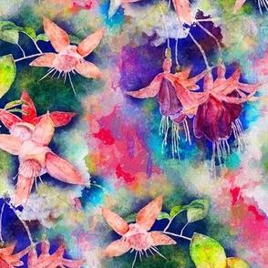 FUCHSIA FLOWERS GARDEN WATERCOLOR ALTERNATE RED RASPBERRY