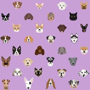 dog heads cute fabric dog lover purple