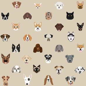 dog heads cute fabric dog lover tan