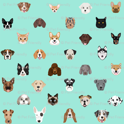 dog heads cute fabric dog lover mint