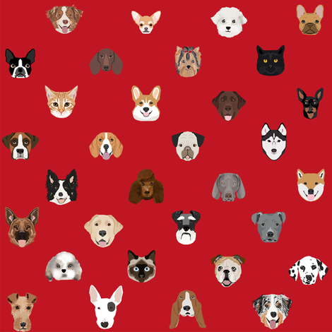 dog heads cute fabric dog lover red fabric by petfriendly on Spoonflower - custom fabric