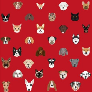 dog heads cute fabric dog lover red