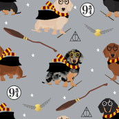 dachshund magic witch wizard dog fabric grey