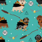 dachshund magic witch wizard dog fabric teal