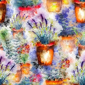 LAVENDER AND HERBS GARDEN WATERCOLOR ON WHITE