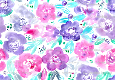 Watercolor pretty flowers