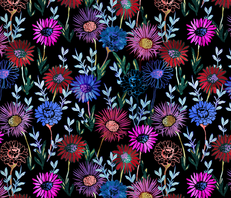 Gillie Floral black fabric by schatzibrown on Spoonflower - custom fabric