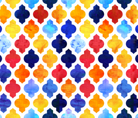Marrakesh Moroccan red and blue fabric by bruxamagica on Spoonflower - custom fabric