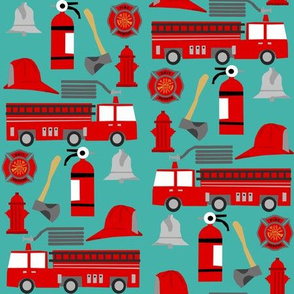 fireman career firetruck kids boys nursery fabric teal