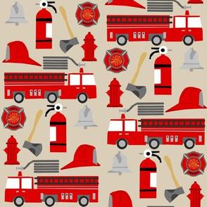 fireman career firetruck kids boys nursery fabric tan