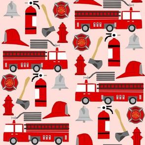 fireman career firetruck kids boys nursery fabric pink
