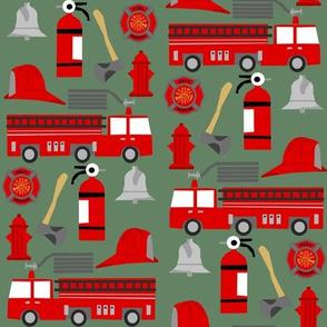 fireman career firetruck kids boys nursery fabric green