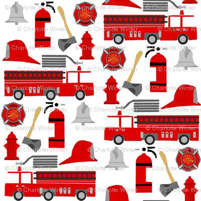 fireman career firetruck kids boys nursery fabric white