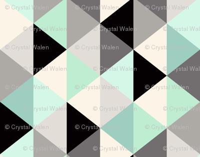 Triangle Geometric Pattern_Mint - rotate